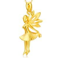 New Arrival Solid 24K Yellow Gold Pendant 999 Gold Women Angel girl Pendant 3.19g