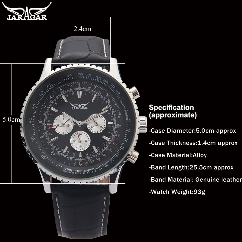 Image 5 - JARAGAR Brand Luxury Men Mechanical Watches Mens Automatic 6 Hands Genuine Leather Strap Watches Black Auto Date Wristwatcheswristwatch brandwristwatch blackwristwatch mens automatic -