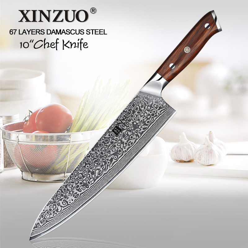 XINZUO 10 inch Chef Knife Japanese Damascus Steel Kitchen Knife Professional Gyuto Cleaver Knives Cooking Tool