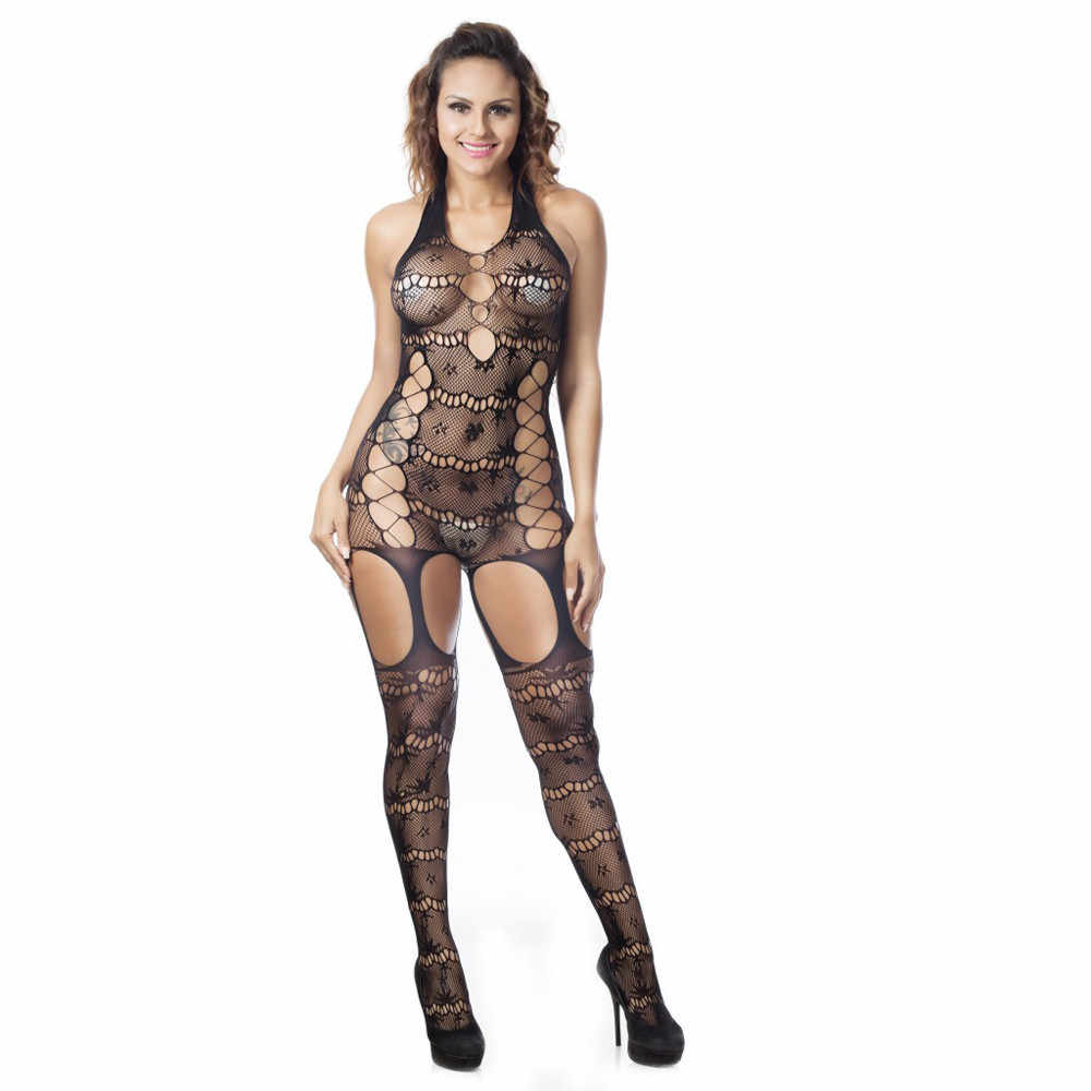 22fca09d62 2017 Sexy Lingerie Woman Sheer Mesh Lace Fishnet Bodystockings Babydoll  Backless Open Crotch Body Suit Nightwear