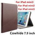 Piel de vaca para ipad mini 3 case protector de la cubierta elegante de cuero genuino tableta para ipad mini 2 7.9 pulgadas mini3 mini2 protector de la manga