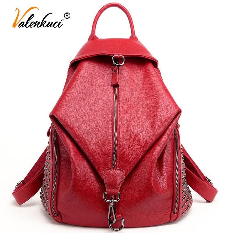 ФОТО Valenkuci Brand women backpacks leather backpacks for teenage girls travel women bags rivet backpacks student school bag BD-144
