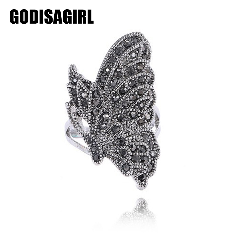 Fashion Jewelry Antique Silver Plated Women Retro Vintage Black Crystal Butterfly Ring mariposa en plata anillo