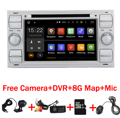 Livraison Gratuite 2 din Android 7.1 Voiture DVD GPS pour Ford Focus Kuga Transit Wifi 3G GPS Bluetooth Radio RDS SD Volant Ctrol