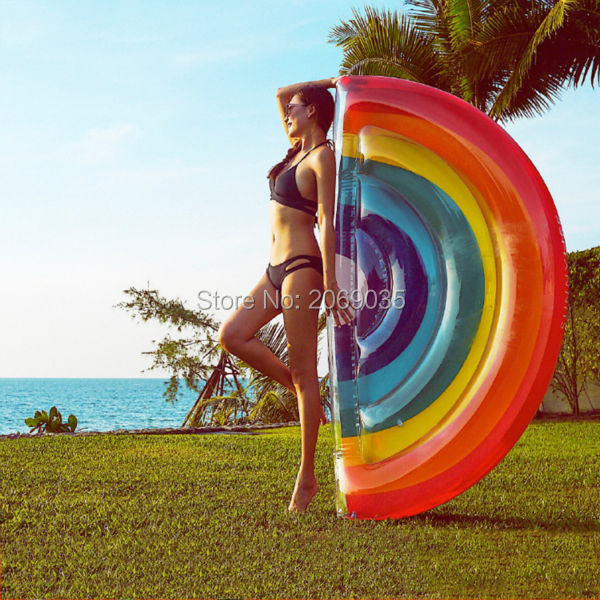 Giant Rainbow Inflatable Floats Half Watermelon Swimming Pool Float Beach Water Toy Blowup Fruit Floatie Air Mattress Lounger 180 150cm giant inflatable pizza swimming pool float summer water toys outdoor fun toy beach resting lounger air mattress raft