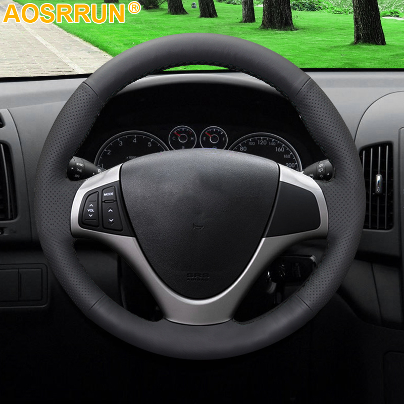 AOSRRUN Black Artificial Leather Car Steering Wheel Cover For Hyundai I30 2008 2009 2010 FD Car Accessories Styling-in Steering Covers from Automobiles & Motorcycles