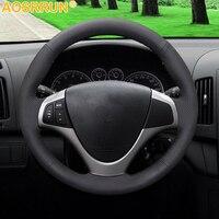 AOSRRUN Schwarz Künstliche Leder Auto Lenkrad Abdeckung Für Hyundai I30 2008 2009 2010 FD Auto Zubehör Styling