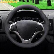 AOSRRUN housse de volant en cuir artificiel noir, accessoire de voiture pour Hyundai I30, 2008, 2009, 2010 FD
