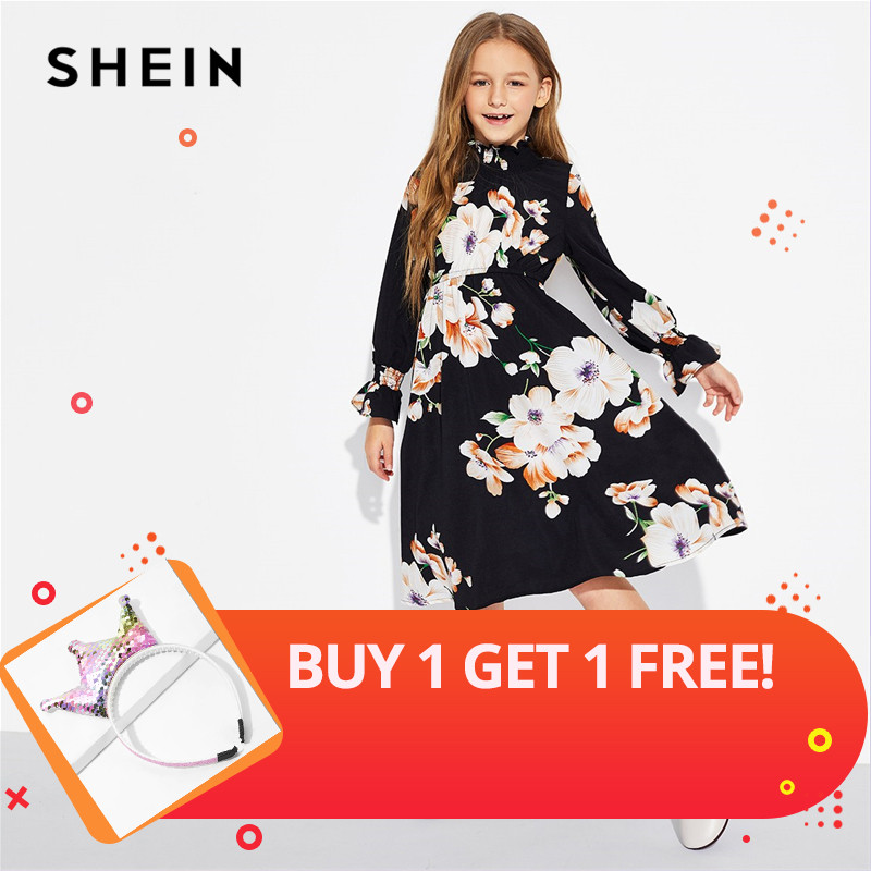 SHEIN Girls Black Floral Print Stand Collar Elegant Dress Kids Clothing 2019 Spring Korean Long Sleeve A Line Casual Dresses floral print swing dress
