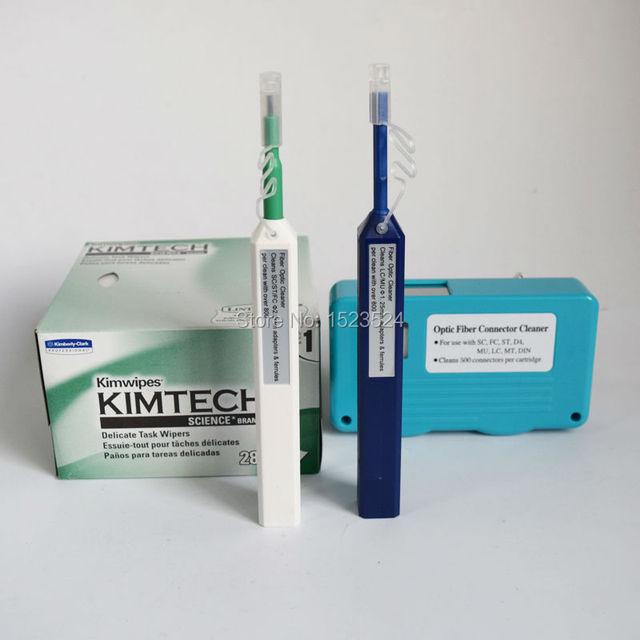 4 en 1 Kit de Limpieza de Herramientas De Fibra Óptica con Conector Limpiador, un Clic Más Limpia 2.5mm y 1.25mm, Kimwipe Toallitas