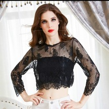 Sexy Women Blusas Femininas Black short Sleeve V Neck Sexy Vintage Lace Blouse Hollow Out Zipper Back Crop Top Clubwear grey v pattern back lace hollow out staple blouse