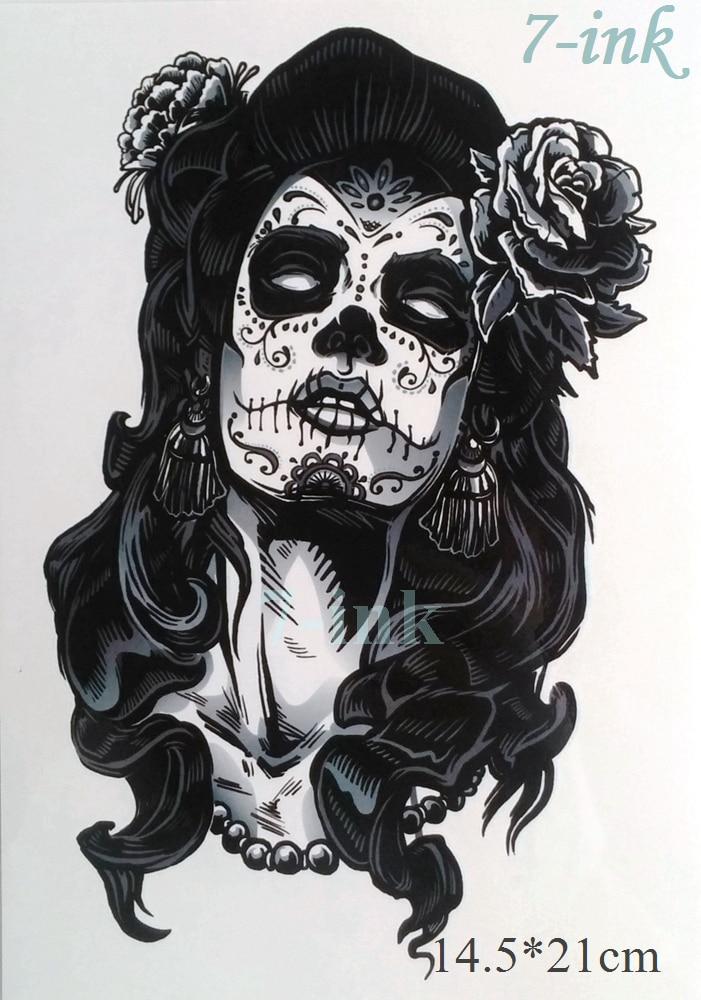 Waterproof Temporary Tattoo Sticker Skull Gypsy Women