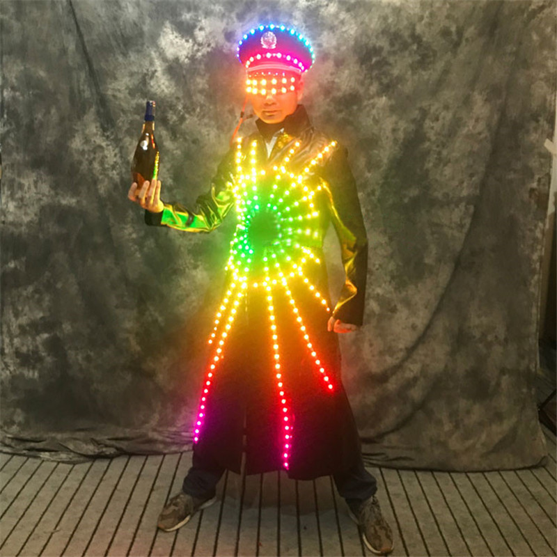 RE59 DJ stage costumes led lighted up dance show wears men outfits luminous jacket robot men suit led glasses glowing clothing