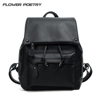 Simple Style Backpack Women PU Leather Backpacks For Teenage Girls School Bags Fashion Vintage Solid Schoolbag