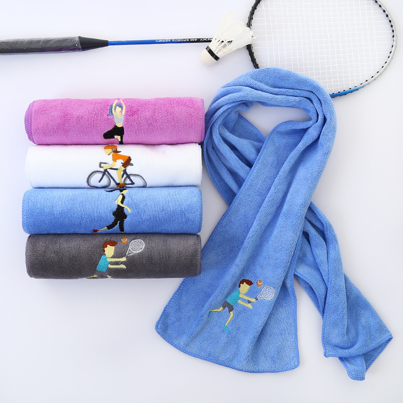 Enipate Embroidery Sports Towel Soft Absorbent Yoga Gym Camping Golf Fitness Sweat Towel Sports Cartoon Towel 25*110cm