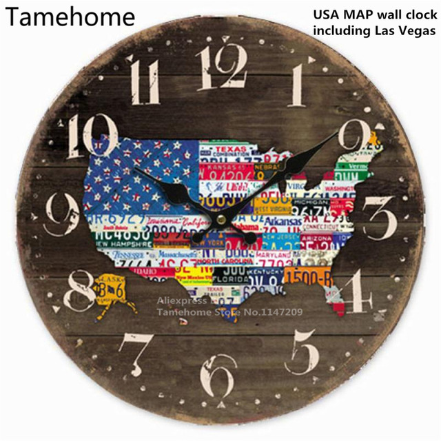 Tamehome retro style usa american flag map car plate number world tamehome retro style usa american flag map car plate number world map round wall clock wood gumiabroncs Image collections