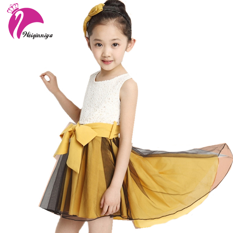 Summer Girls Dresses New 2017 Fashion Mermaid Sleeveless Big Bowknot Lace Dress Casual Princess Vestido Infantil Kids Clothes summer girls florwer dresses new design 2016 casual cotton sleeveless kids clothes lovely party vest dress infantil vestido hot