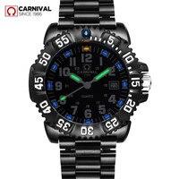 Карнавал T25 Тритий кварцевые часы с подсветкой мужские водонепроницаемые военные полный стали Роскошные Брендовые мужские часы моды случа