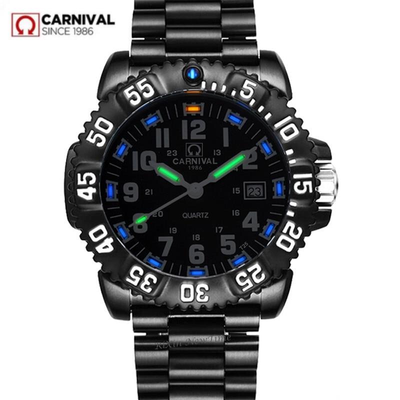 Карнавал T25 Тритий световой Кварцевые часы мужские водонепроницаемые военные полный стали Роскошные Брендовые мужские часы моды случайные