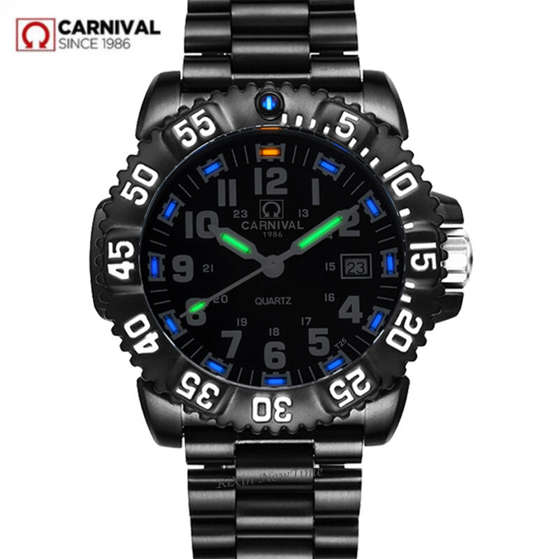 Carnival T25 tritium luminous quartz watch men waterproof military full steel luxury brand men watches fashion casual clock saat