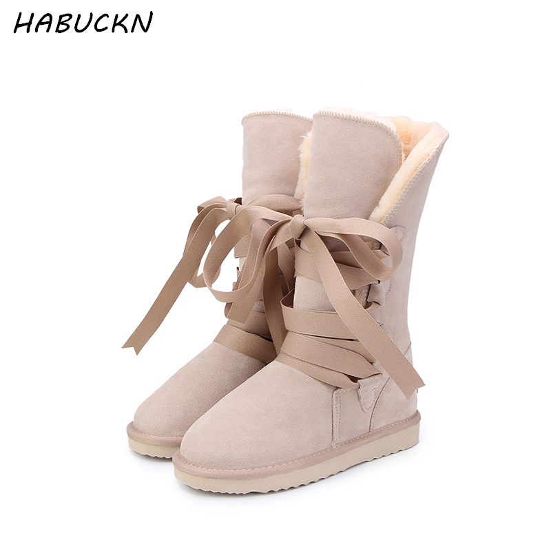 HABUCKN High Quality Snow Boots women's winter Boot Women Fashion Genuine Leather Australia Classic Women's High Boot Winter goncale high quality band snow boots women fashion genuine leather women s winter boot with black red brown ug womens boots
