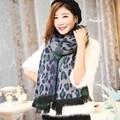 2016 классическая мода марка кашемир шарф женщины двойной шерсти сексуальная leopard кисточкой шарф зима теплая шаль и шарфы cachecol