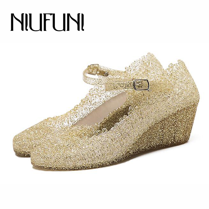Women Sandals Strap Jelly-Shoes Wedges Buckle Hole-Platform High-Heels Gold Summer Casual
