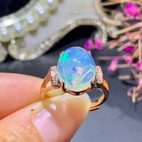 [MeiBaPJ 3.3 Carats Natural Big Opal Gemstone Fashion Ring for Women Real 925 Sterling Silver Charm Fine Jewelry
