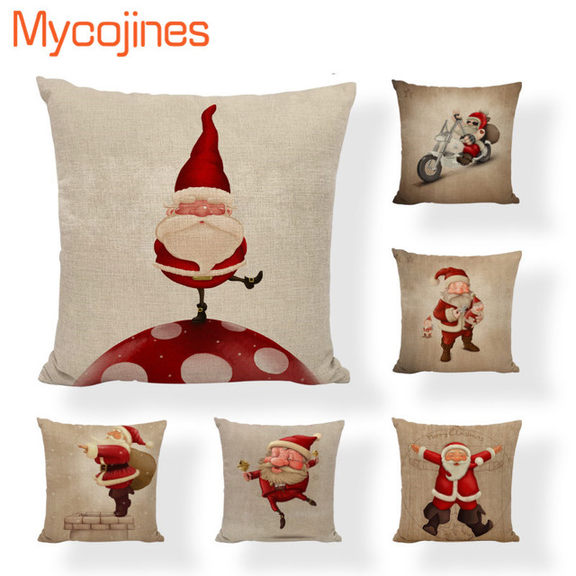 Lovely Santa Claus Pillowcase Merry Christmas Letter Bell Cushion