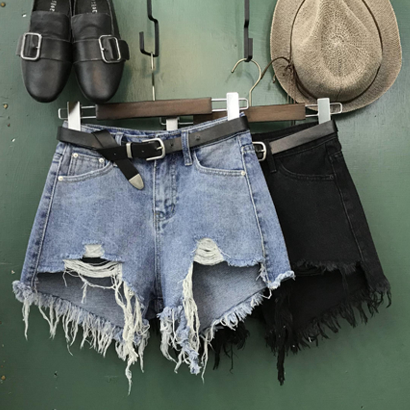 2019 Summer High Waist Denim Shorts Women Summer Loose Wide Leg Hole Tassel Jeans Shorts