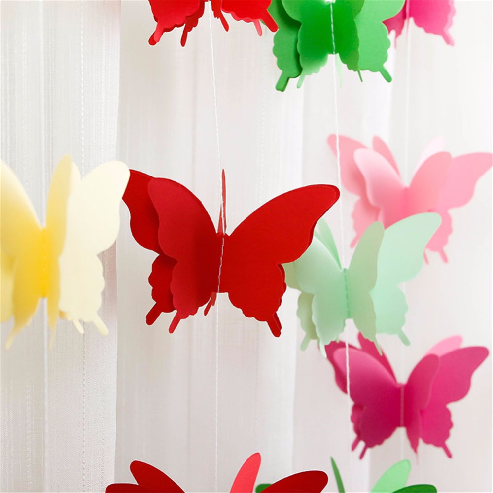 1 PACK OF 3 X 3M MULTI COLOURED DECORATIVE TISSUE PAPER PRETTY BUTTERFLY GARLAND