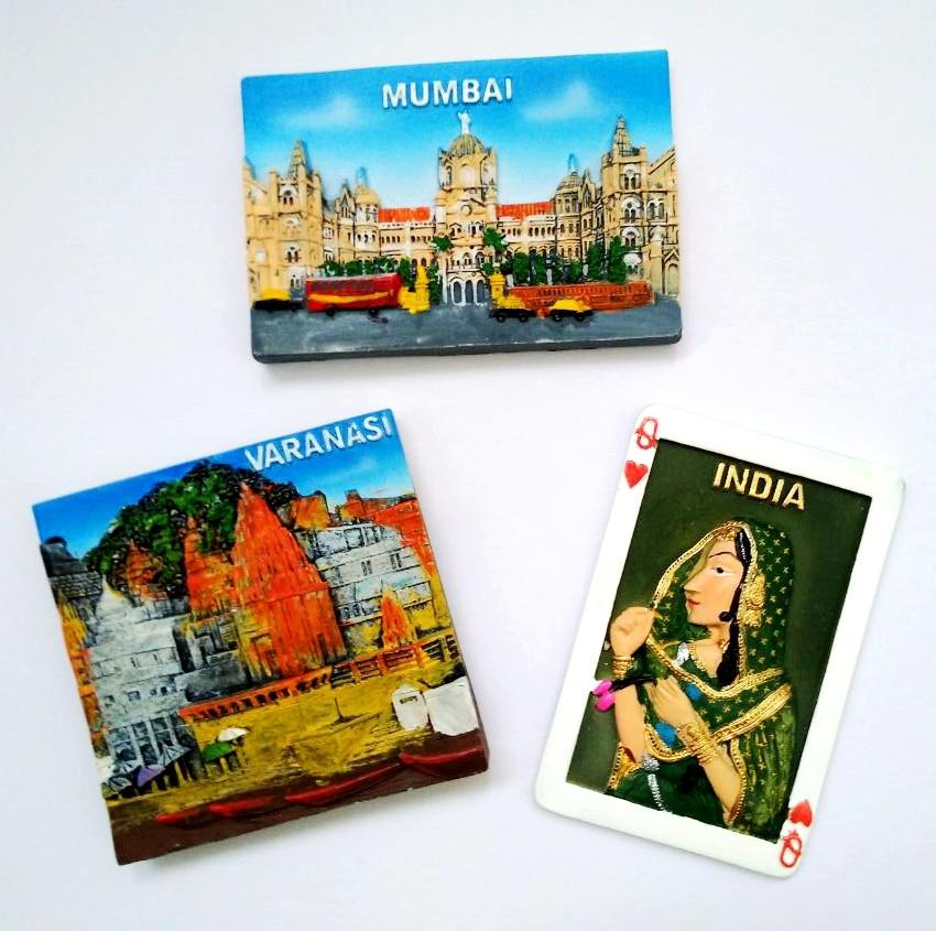 New Hot Sale India Girl Playing Cards Mumbai 3D Fridge Magnet Travel Souvenir -2072