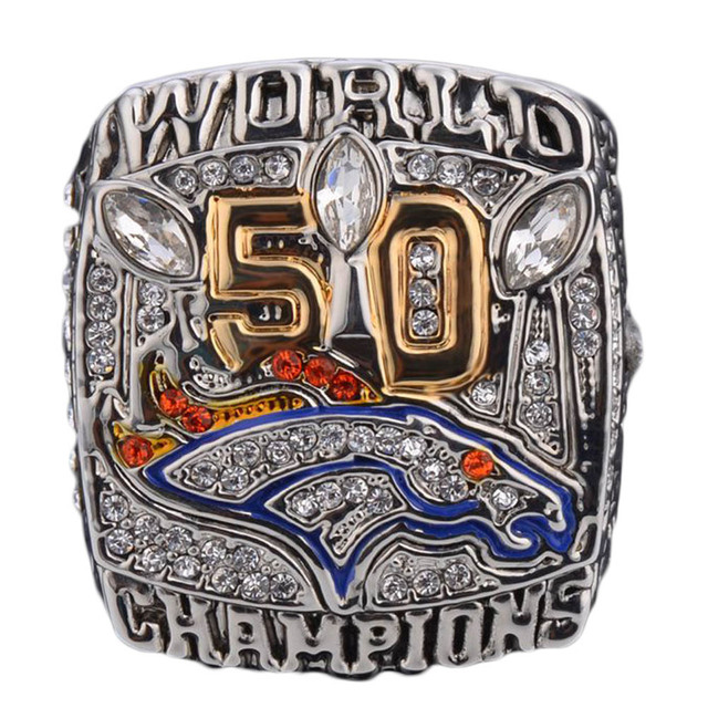 2016 New Arrival 2015 Denver Broncos Super Bowl 50 Championship Ring Replica Offical Edition MILLER Drop Shipping Size 9-12