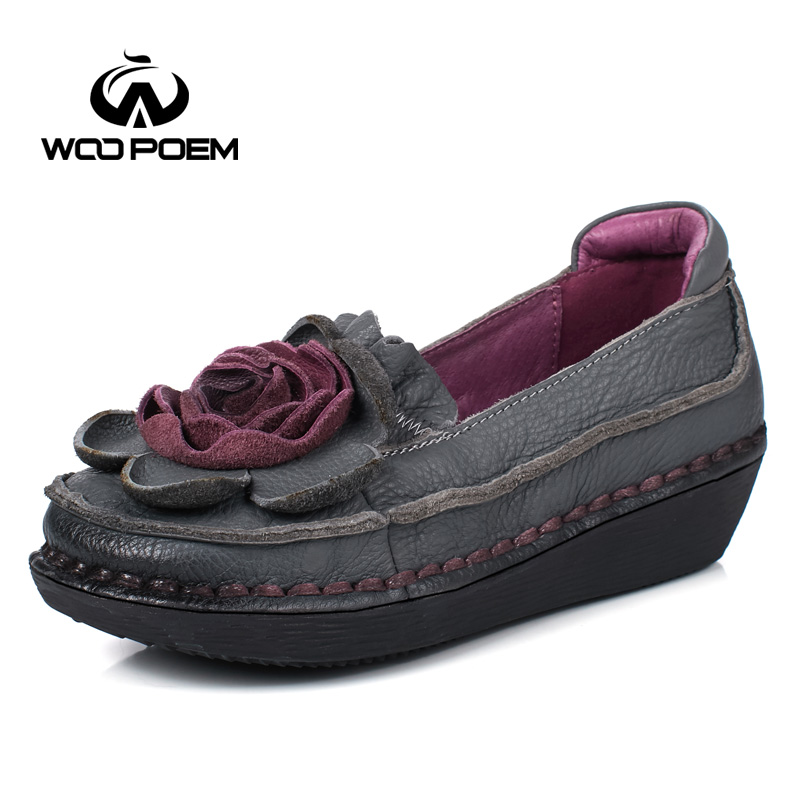 WooPoem Spring Autumn Shoes Woman Breathable Cow Leather Flats Comfortable Rubber Slip-On Shoes Casual Flower Women Shoes 6293 cresfimix zapatos women cute flat shoes lady spring and summer pu leather flats female casual soft comfortable slip on shoes