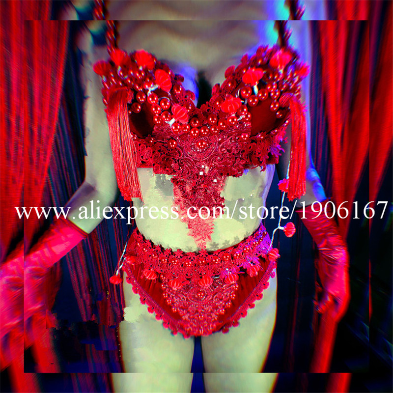 Nightclub GOGO female models Chinese style LED lights tassels red big hats Mid-Autumn National Day theme costumes5