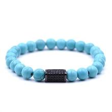 KANGKANG Hot Selling Blue natural stone Bracelet Micro-inlay Zirconia 4 colors Quadrangular prism 8mm Elastic Rope Bead