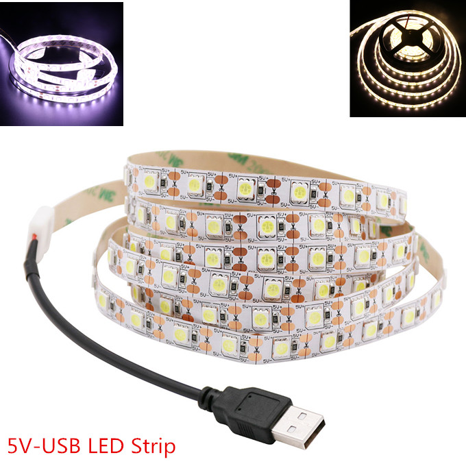 <font><b>5V</b></font> <font><b>USB</b></font> LED Strip 5050 Cold white/Warm white TV Background Lighting 60LEDs/m <font><b>USB</b></font> Clip Connector 30cm/50cm / 1m / 2m Set. image