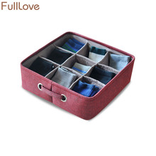 hot deal buy fulllove 30*30*10cm linen organizer for underwear bra socks 9 grid solid blue wardrobe storage box home storage & organization