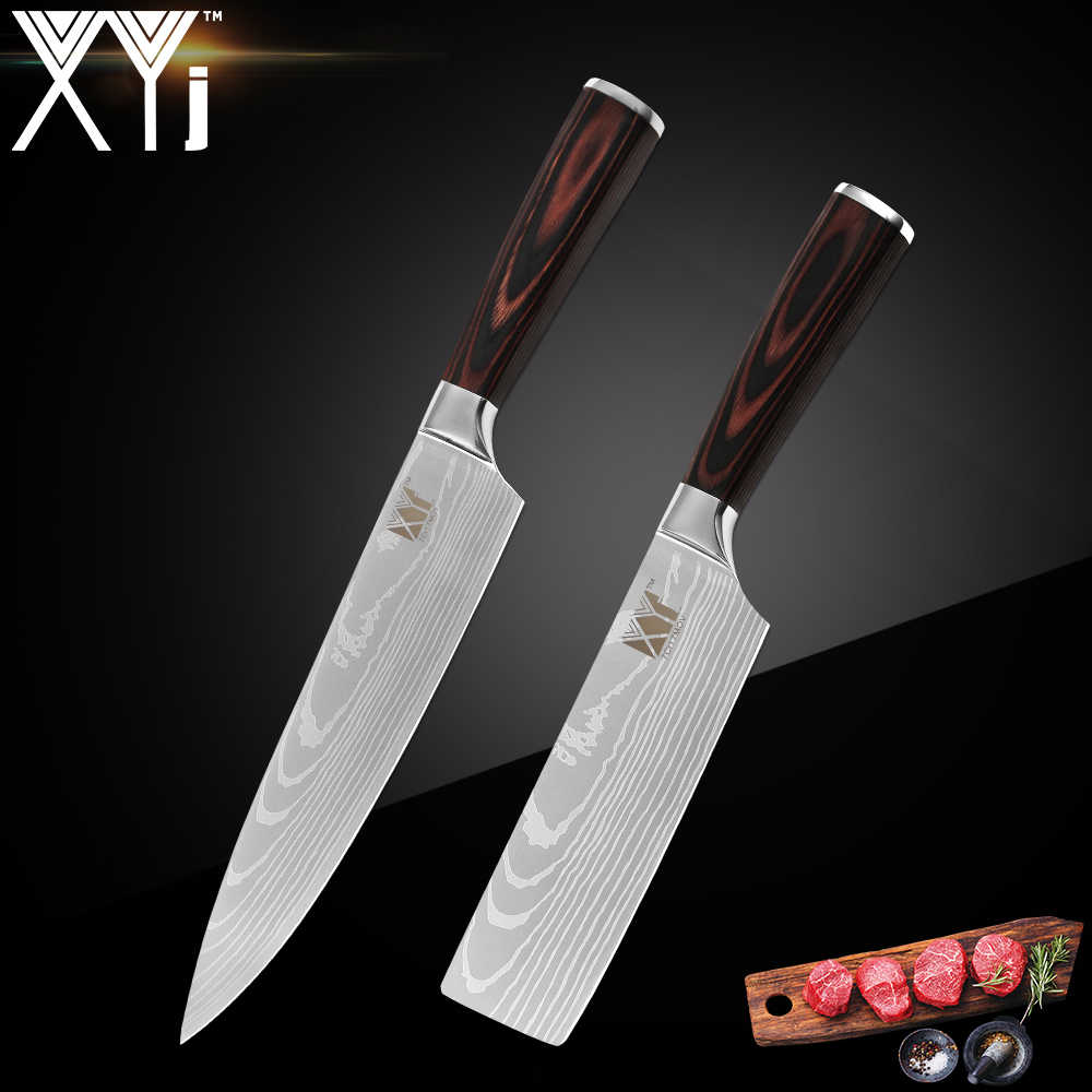 XYj Japanese Stainless Steel Kitchen Knives Imitation Damascus Pattern Chef Knife Sharp Santoku Cleaver Slicing Utility Knives