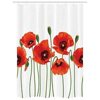 Vixm Floral Stall Poppies of Spring Season Pastoral Flowers Botany Bouquet Field Nature Art Fabric Shower Curtains