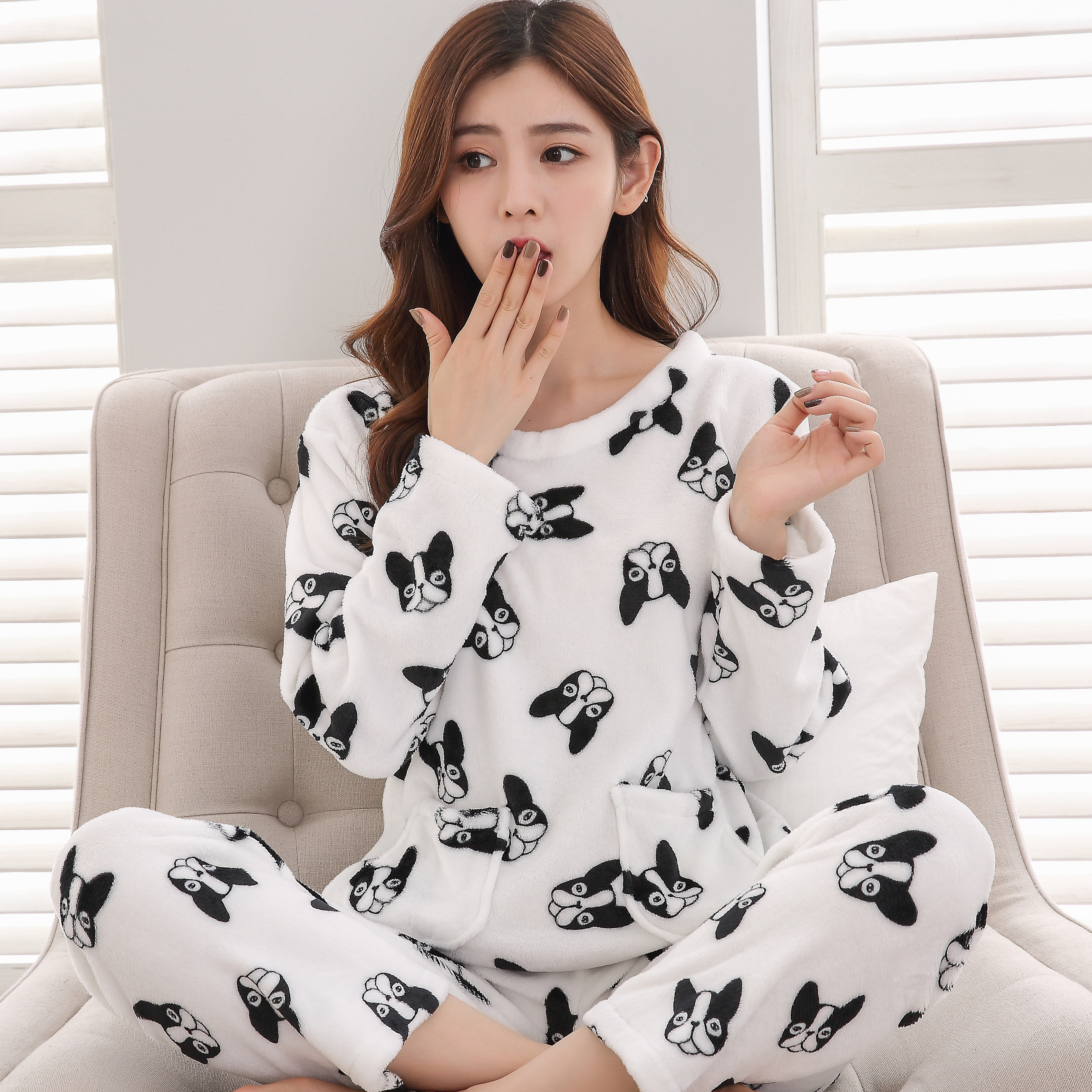 Underwear Women 2018 New Warm Flannel   Pajamas     Set   for Women Cute Print Women Sleepwear   Set   Winter Long Sleeve Flannel   Pajamas