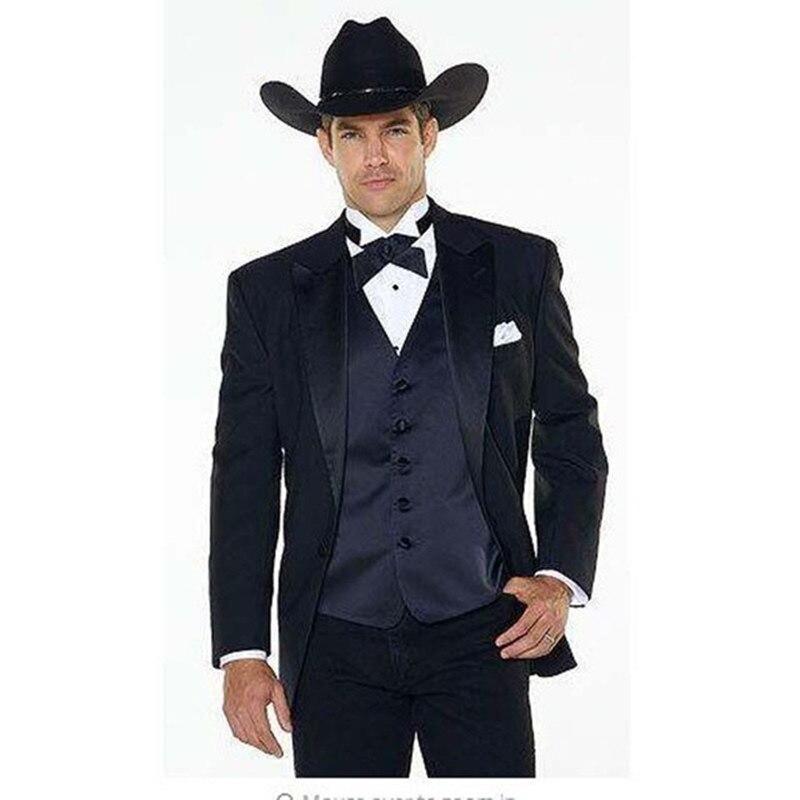 (Jakcet+Pants+navy blue Vest) Notch Lapel Western Cowboy Style mens suit black Groom Wear Tuxedos Best Man Wedding Suits For men