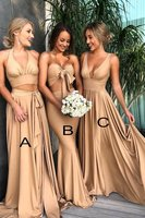 Mismatched Deep V Neck Bridesmaid Dress Long Cheap Bridesmaid Gown