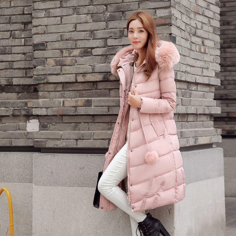 HOT 2016 winter new women s parka fashion long style Slim Down parkas hooded jacket women