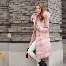 ГОРЯЩЕЕ! 2016 зима новый женская куртка мода длинные стиль Тонкий Вниз парки с капюшоном куртка женщины пальто хлопка воротник overwear женский