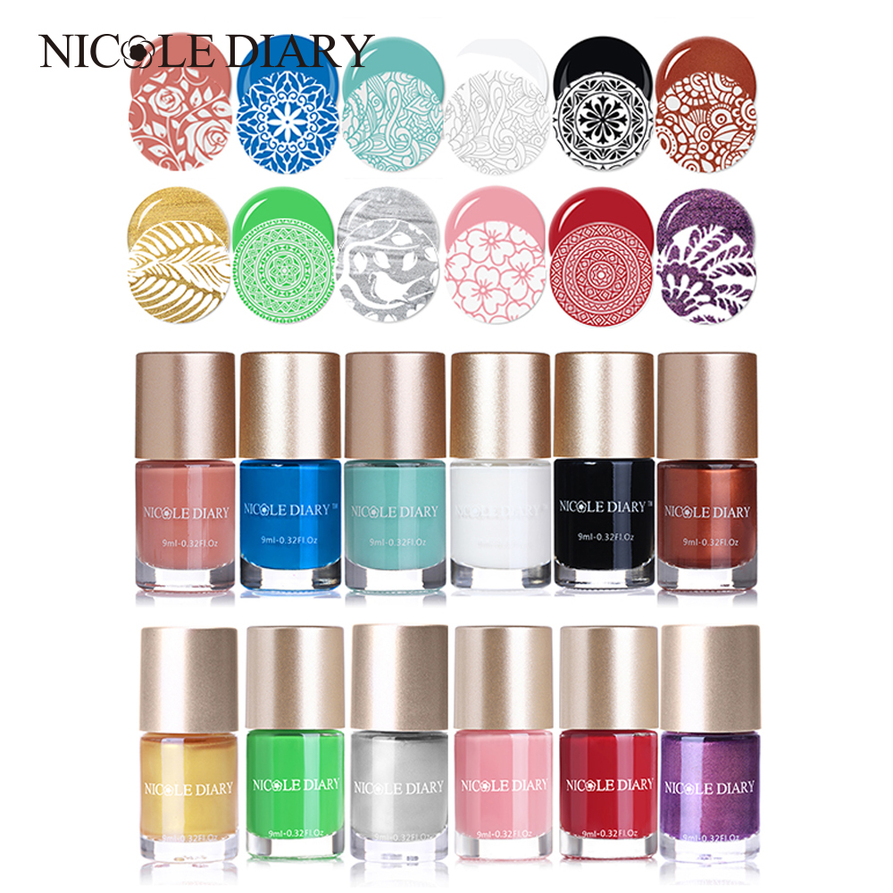 NICOLE DIARY Nail Stamping Polish 9ml Pearl Nail Art Lacquer Varnish with Polish Thinner Peel Off Nail Latex