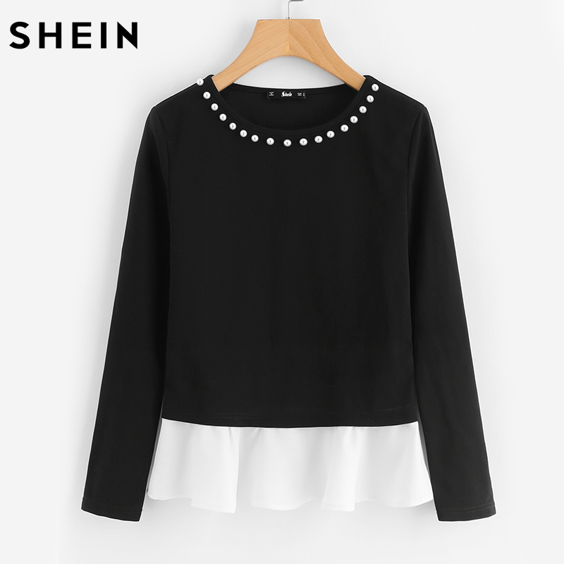 SHEIN Pearl Beading Neck Contrast Trim Tops Black And White Color Block Autumn Top Long Sleeve Elegant T-shirt
