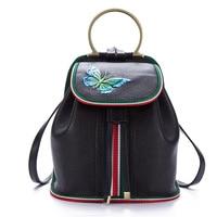2019 Genuine Embossed Leather Rucksack Butterfly Pattern Travel Bag Daypack Famous Brand Retro Small Knapsack Women Backpacks
