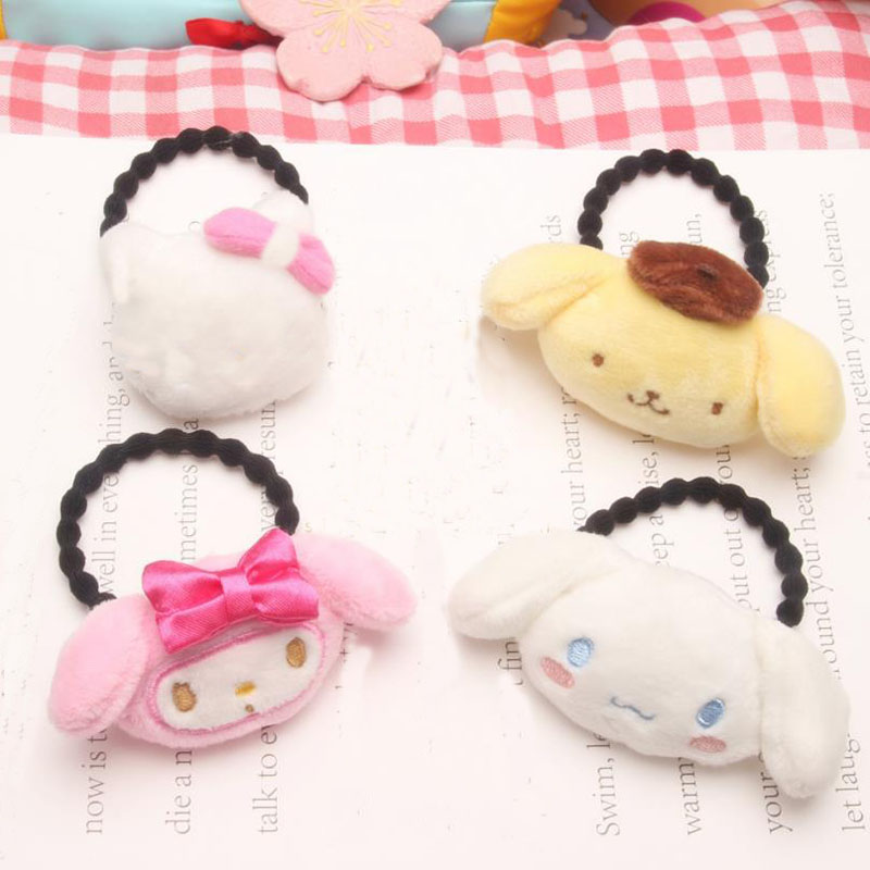1PC Lovely Japanese Cartoon Melody Pudding Cinnamoroll Dog Doll Plush Hair Rope Plush Toys Hairpin Doll For Girl Kid Gifts