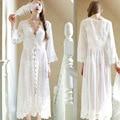 Cordón de las mujeres de Victoria sylte larga batas de casa bata dama de honor batas de las mujeres embarazadas camisón transparente